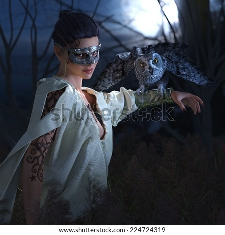 Beautiful sexy witch in mask with owl halloween background - stock photo