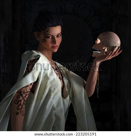 Beautiful  sexy witch with skull halloween background - stock photo