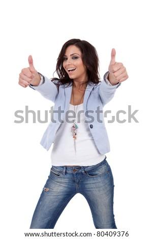 Beautiful sexy woman gesturing thumb up - stock photo