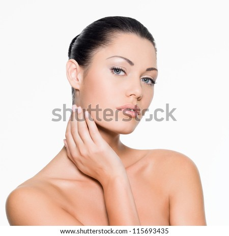Beautiful sexy woman - isolated on white - stock photo