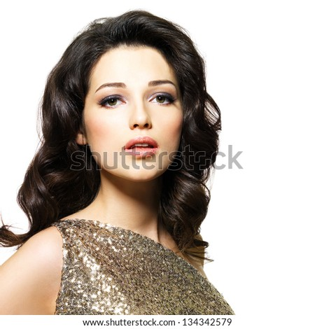 Beautiful sexy woman with brown curly hairs isolated on white background - stock photo