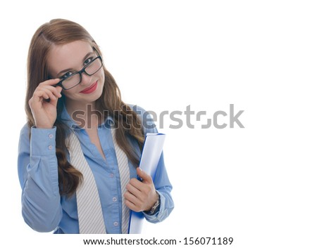 Beautiful sexy woman with red lips and a blue shirt and a blue folder posing