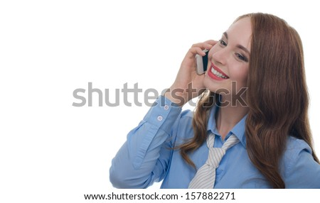 Beautiful sexy woman with red lips in a blue shirt talking on the phone fun