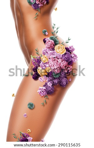beautiful sexy woman with violet flowers on body on white background - stock photo