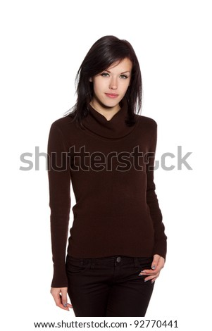 beautiful sexy young brunette woman wearing knitted brown sweater, sensual looking at camera, posing isolated over white background series photo - stock photo