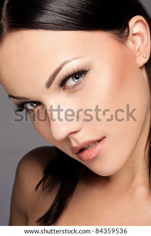 Beautiful sexy young woman closeup - stock photo