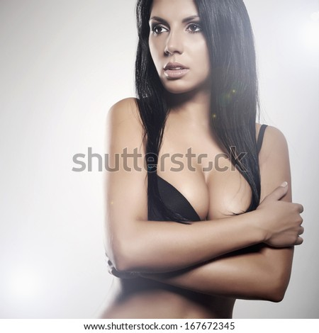 beautiful sexy young woman in underwear. beauty body. big breast - stock photo