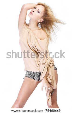 Beautiful sexy young woman isolated on white. - stock photo