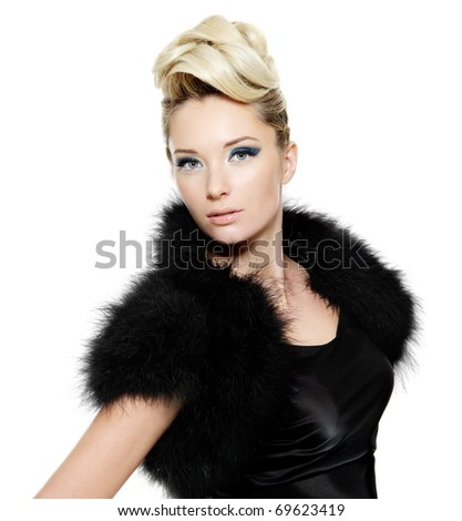 Beautiful sexy young woman wearing dress with fur and curly  hairstyle,  on white background - stock photo