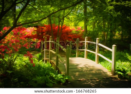 Beautiful shade garden with a bridge with blooming pink and purple rhododendron, azalea shrubs, trees and ferns. This photo has been given a Photoshop effect to make it resemble an oil painting.