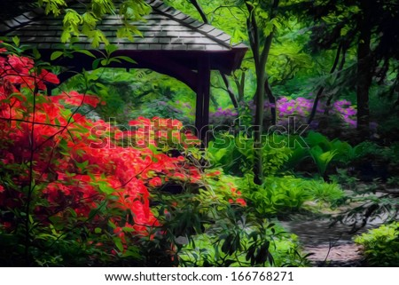 Beautiful shade garden with a Gazebo with blooming pink and purple rhododendron, azalea shrubs, trees and ferns. This photo has been given a Photoshop effect to make it resemble an oil painting. - stock photo