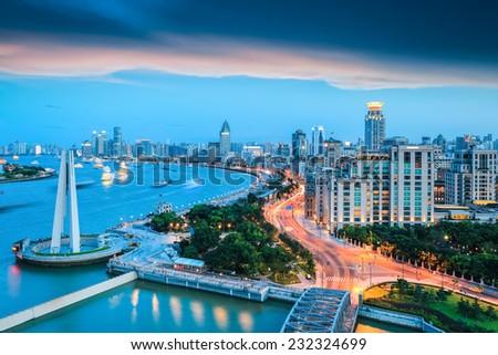 beautiful shanghai bund in nightfall ,dreamy modern city  - stock photo