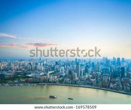 beautiful shanghai in sunset aerial view of the bund and huangpu river - stock photo