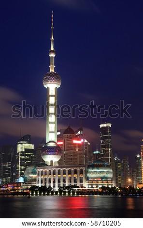 Beautiful Shanghai Pudong skyline at night in Shanghai, China - stock photo
