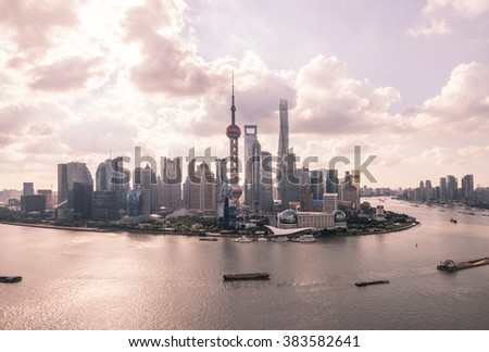 beautiful shanghai skyline and Huangpu river  - stock photo