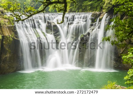 Beautiful Shifen waterfall, Pingxi,Taipei, Taiwan. - stock photo