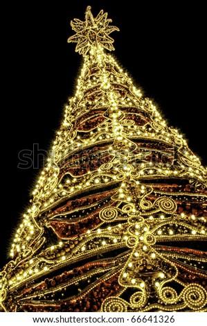 Beautiful shining abstract christmas trees - stock photo