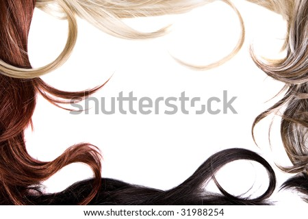 beautiful shiny healthy hair frame - stock photo