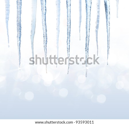Beautiful shiny icicles - stock photo