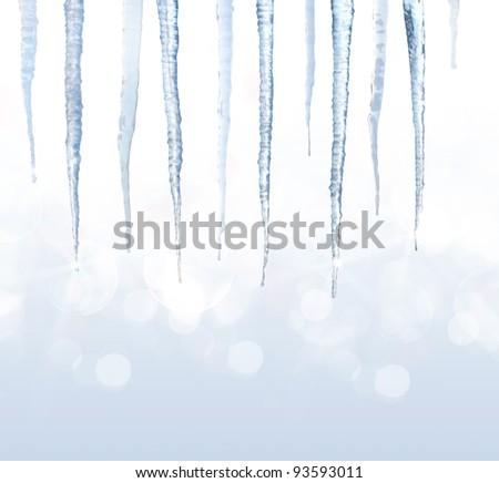 Beautiful shiny icicles - stock photo