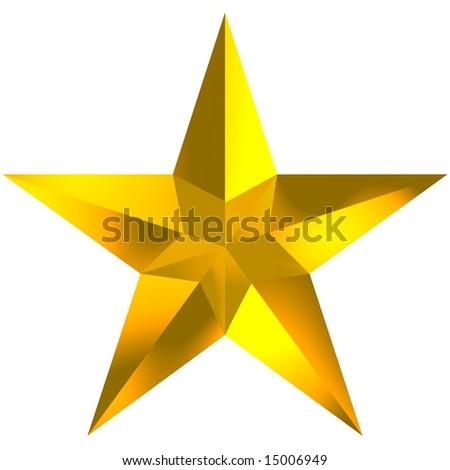 Beautiful shiny star isolated on white - stock photo