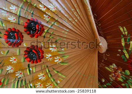 Beautiful Shiny Wooden Spanish fans for sale in Sevilla, Spain - stock photo