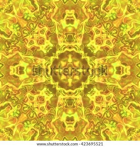 Beautiful shiny yellow kaleidoscopic ornament, colorful fractal repeating decoration, yellow precious stone seamless texture - stock photo