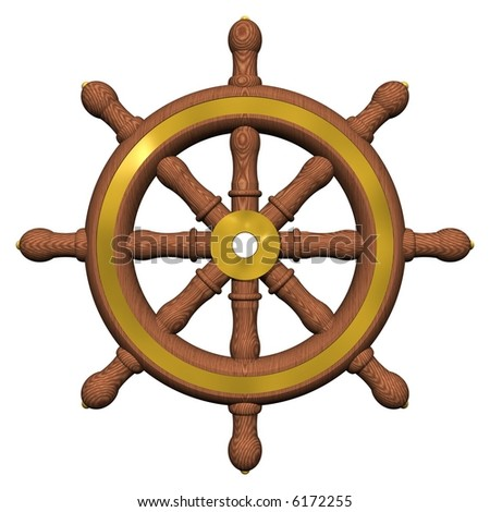 Beautiful ship's wheel isolated on white - stock photo