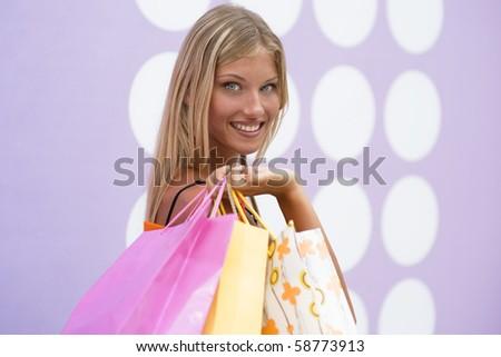 Beautiful shopping girl - stock photo
