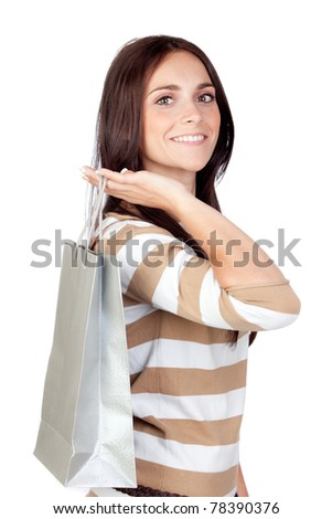 Beautiful shopping girl isolated on white background - stock photo
