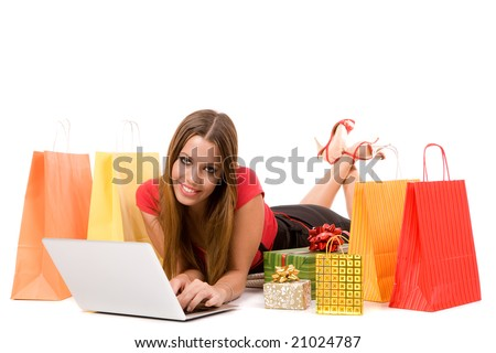 Beautiful shopping girl shopping over internet. - stock photo