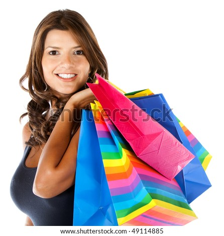 Beautiful shopping woman isolated over a white background