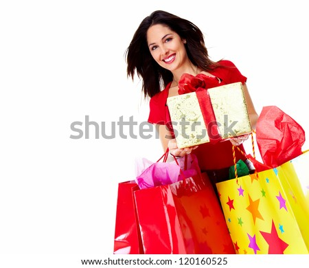 Beautiful shopping woman with gift isolated on white background. - stock photo