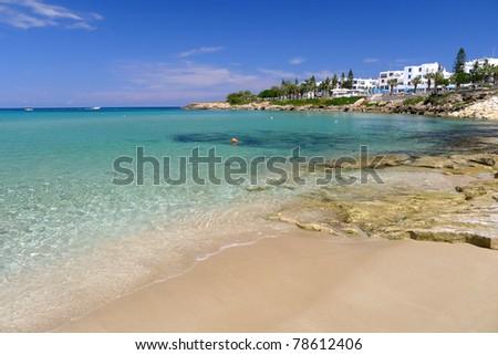 Beautiful shoreline of Protaras on Cyprus island - stock photo