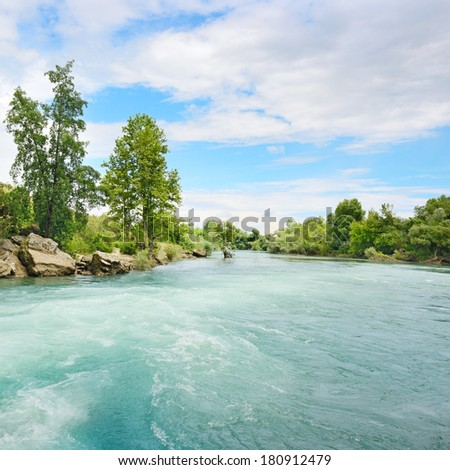 Beautiful shores of the great river                                     - stock photo