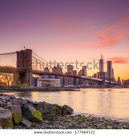 Beautiful shot of Brooklyn Bridge at twilight - stock photo