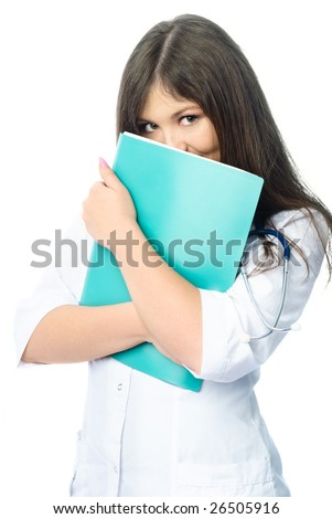 beautiful shy doctor with a green folder and a stethoscope against white background - stock photo