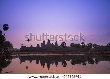 beautiful silhouette Angkor Wat sunrise at Siem Reap. Cambodia