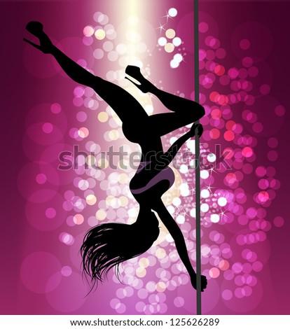 beautiful  silhouette of pole dancer girl, raster version of vector illustration - stock photo