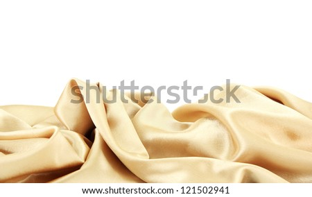 beautiful silk drape, isolated on white - stock photo
