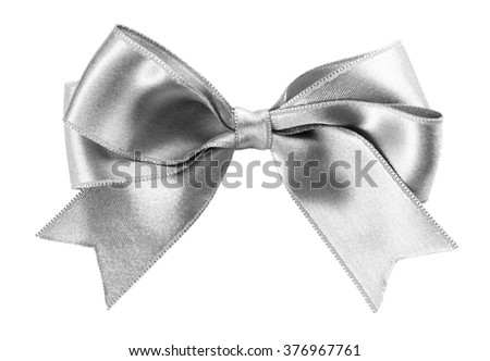 Beautiful silver bow isolated on white background - stock photo