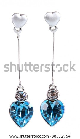 beautiful silver earrings with precious stones isolated on white - stock photo