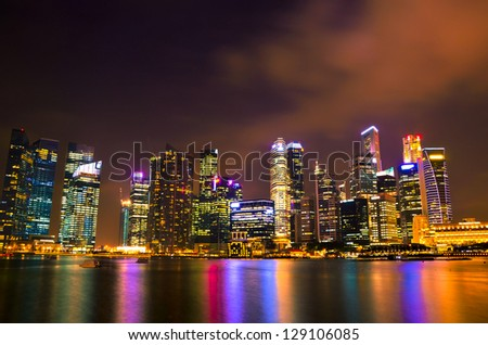Beautiful Singapore skyline at night - stock photo