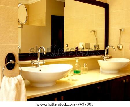 Beautiful sink in a bathroom - stock photo