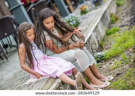 beautiful sisters - stock photo