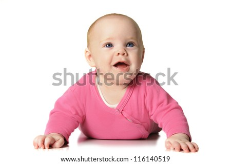 Beautiful six month old baby girl - stock photo