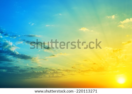 Beautiful skies in sunset time. Background.