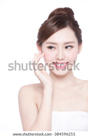 Beautiful Skin care woman Face and she look copy space isolated on white background. asian Beauty - stock photo