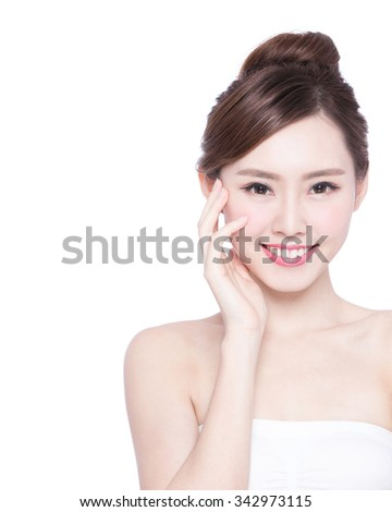 Beautiful Skin care woman Face smile to you isolated on white background. asian Beauty - stock photo