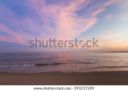 Beautiful sky after sunset over the beach south of Thailand - stock photo